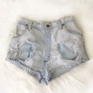Wrangler Distressed Light Wash Denim Cutoff Shorts